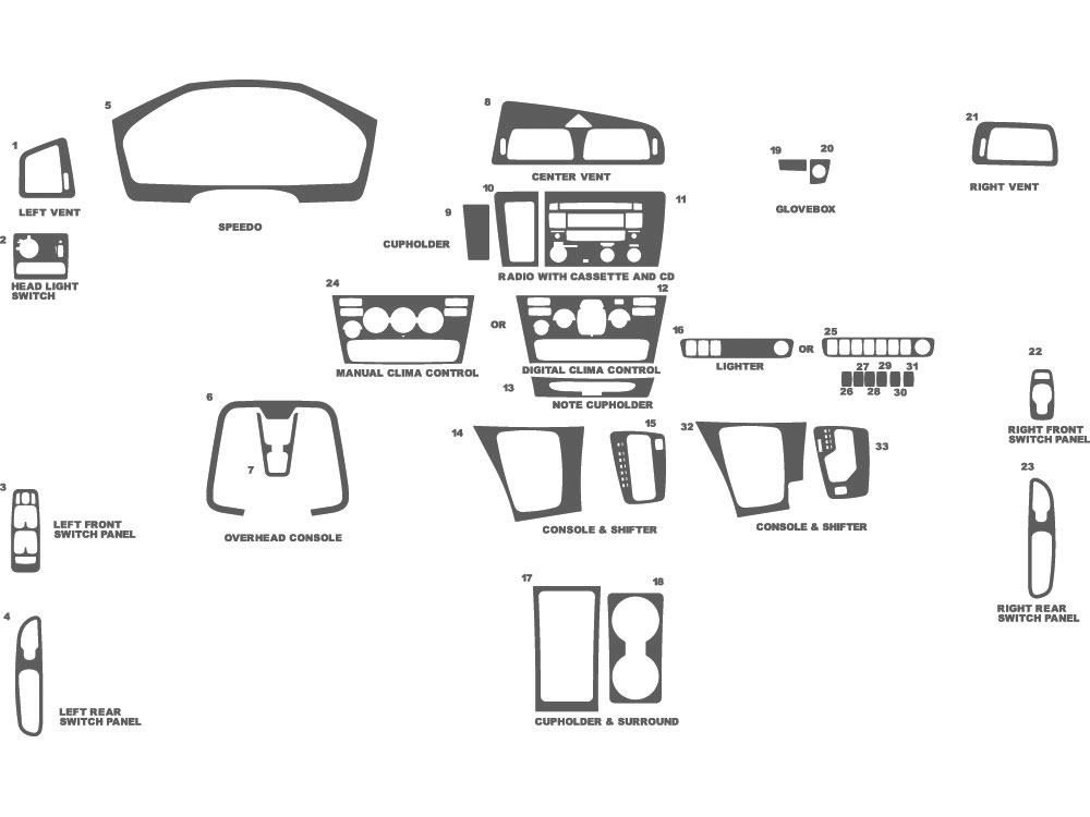 Volvo V70 2001-2004 Dash Kit Schematic