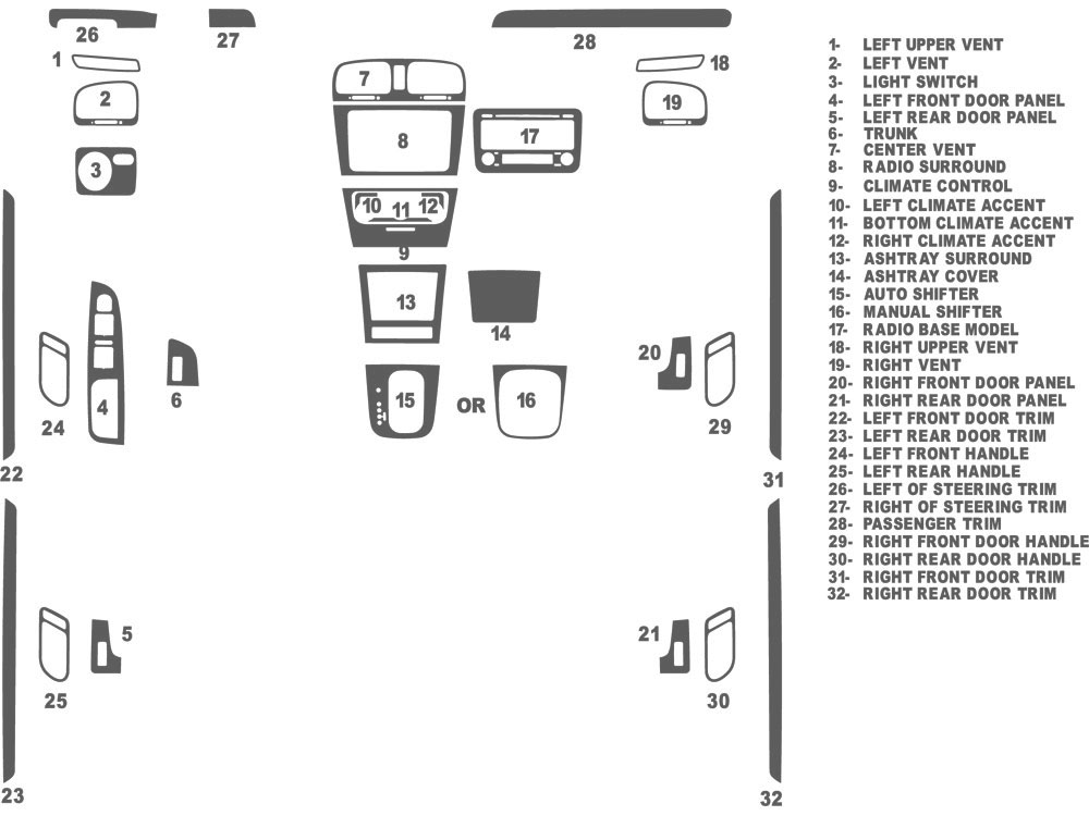 Volkswagen Golf 1999-2005 Dash Kit Schematic