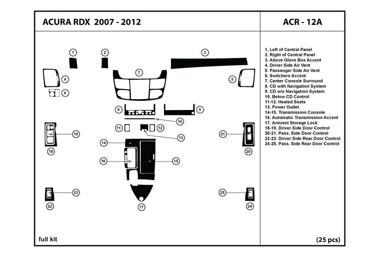 2007 Acura RDX DL Auto Dash Kit Diagram