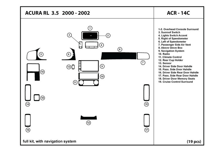 2004 Acura RL DL Auto Dash Kit Diagram