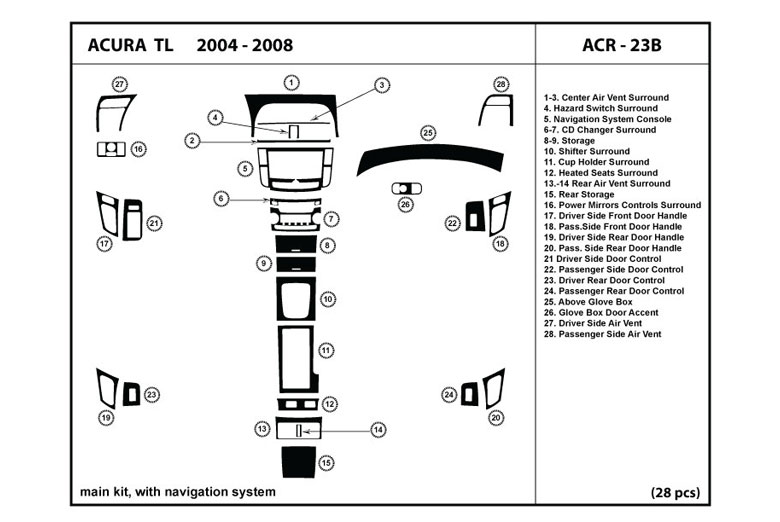 2004 Acura TL DL Auto Dash Kit Diagram