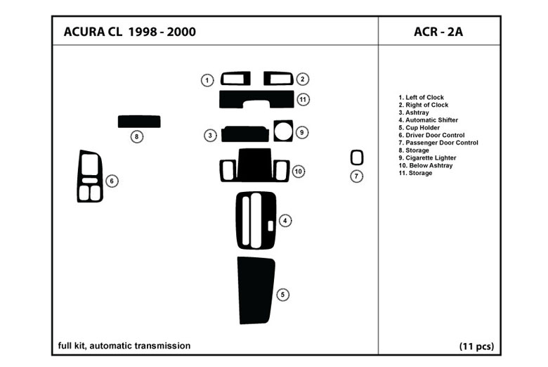 1998 Acura CL DL Auto Dash Kit Diagram