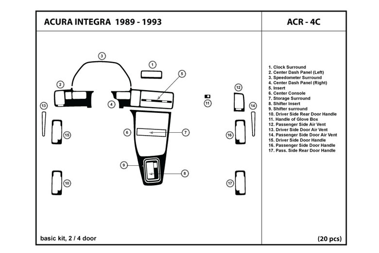 1989 Acura Integra DL Auto Dash Kit Diagram