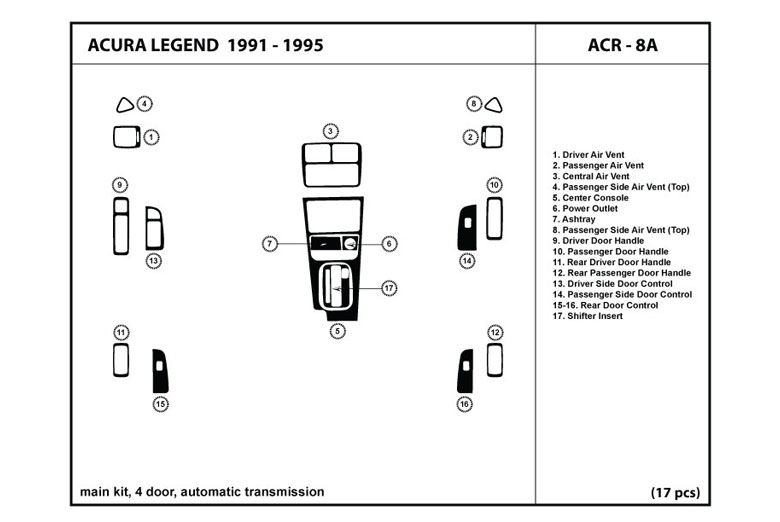 1994 Acura Legend DL Auto Dash Kit Diagram