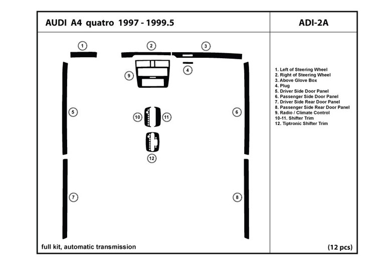 1997 Audi A4 DL Auto Dash Kit Diagram
