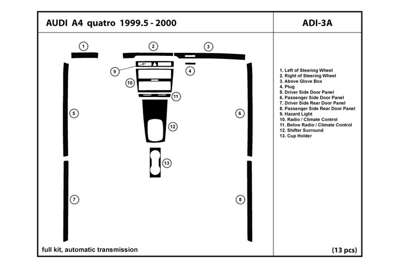 1999 Audi A4 DL Auto Dash Kit Diagram
