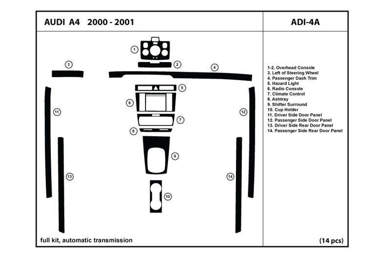 2000 Audi A4 DL Auto Dash Kit Diagram