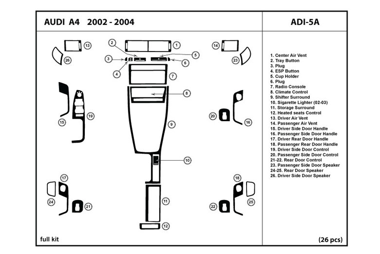 2002 Audi A4 DL Auto Dash Kit Diagram
