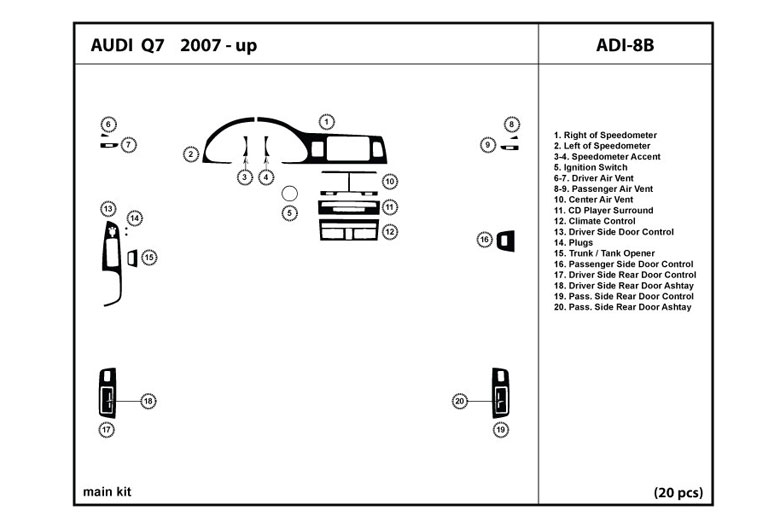 2010 Audi Q7 DL Auto Dash Kit Diagram