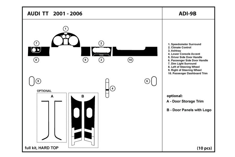 2005 Audi TT DL Auto Dash Kit Diagram