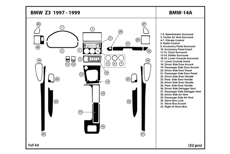 dl auto u00ae bmw z3 1997 1999 dash kits