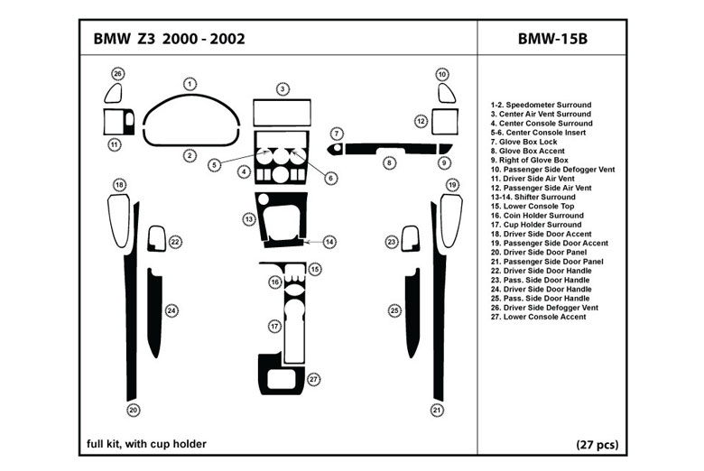 2000 BMW Z3 DL Auto Dash Kit Diagram