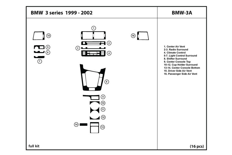 1999 BMW 3-Series DL Auto Dash Kit Diagram