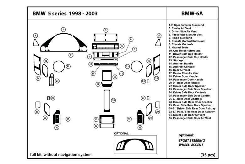 1998 BMW 5-Series DL Auto Dash Kit Diagram