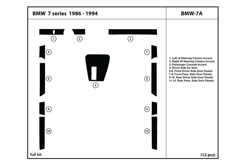 1986 BMW 7-Series DL Auto Dash Kit Diagram