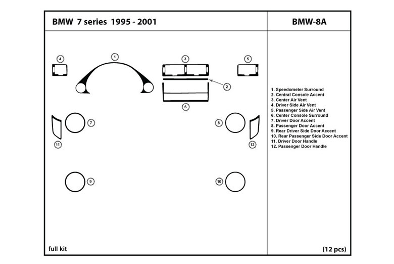 1997 BMW 7-Series DL Auto Dash Kit Diagram
