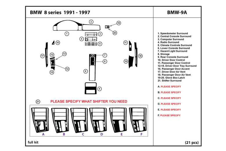 1994 BMW 8-Series DL Auto Dash Kit Diagram
