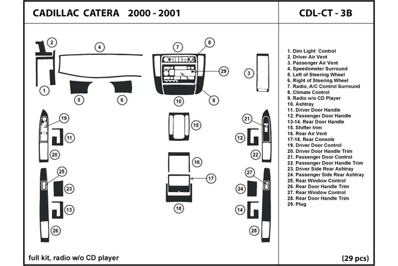 2000 Cadillac Catera DL Auto Dash Kit Diagram