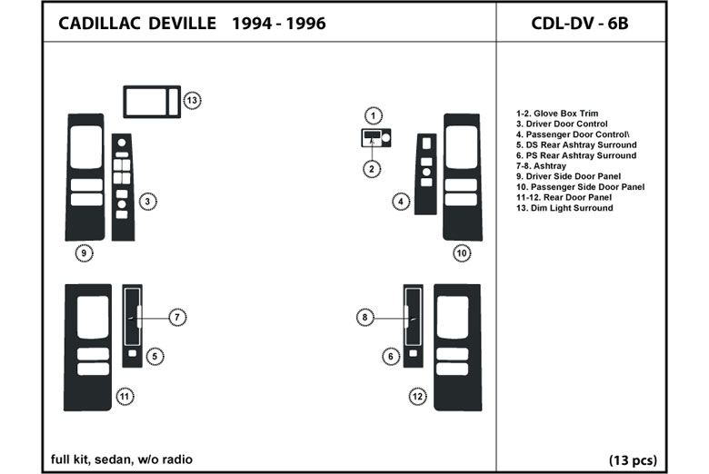 1994 Cadillac Deville DL Auto Dash Kit Diagram