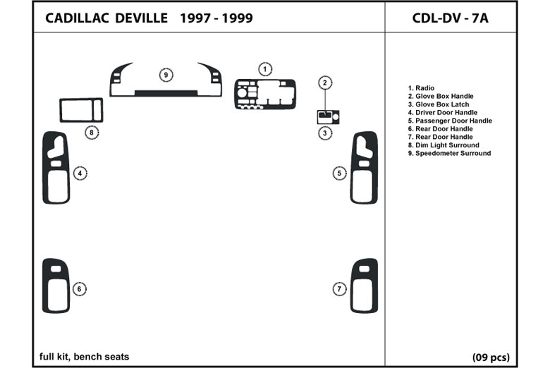 1997 Cadillac Deville DL Auto Dash Kit Diagram