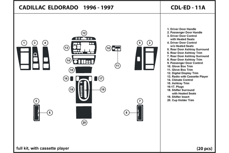 1997 Cadillac Eldorado DL Auto Dash Kit Diagram