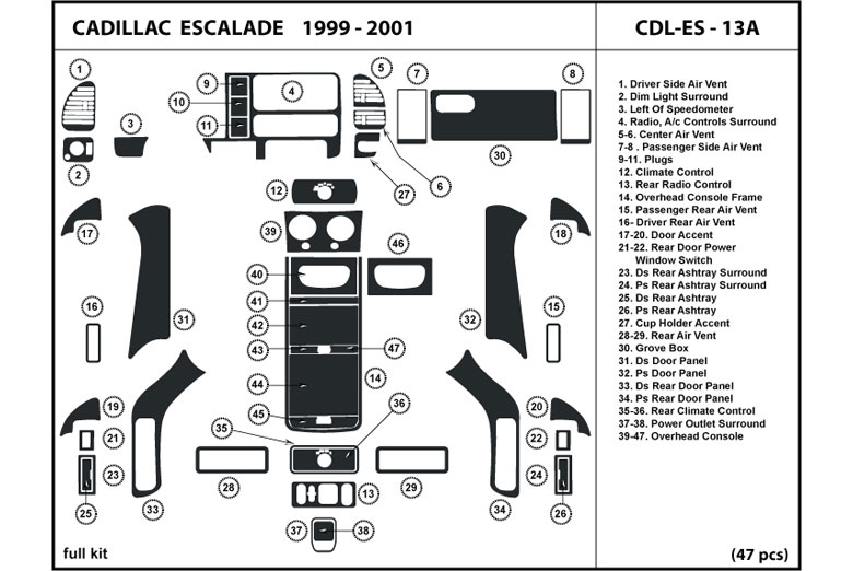 2000 Cadillac Escalade DL Auto Dash Kit Diagram