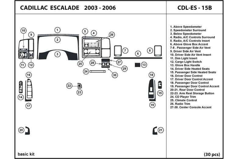 2005 Cadillac Escalade DL Auto Dash Kit Diagram