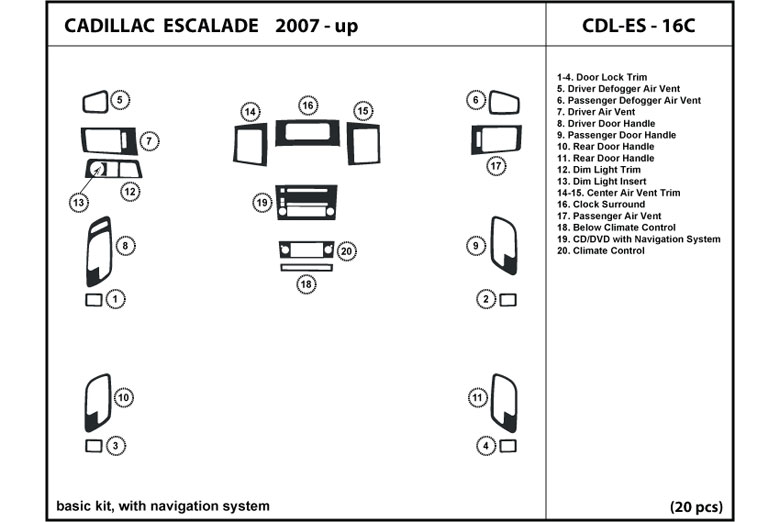 2008 Cadillac Escalade DL Auto Dash Kit Diagram