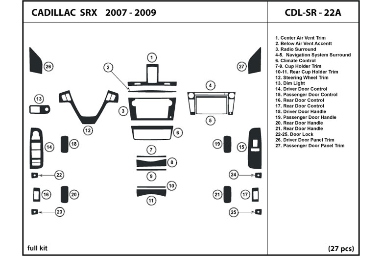 2007 Cadillac SRX DL Auto Dash Kit Diagram