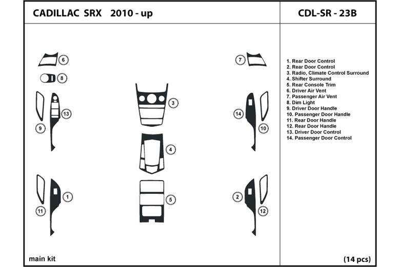 2010 Cadillac SRX DL Auto Dash Kit Diagram