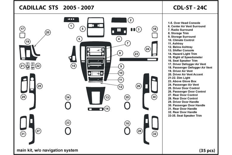 2005 Cadillac STS DL Auto Dash Kit Diagram