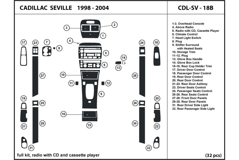 2003 Cadillac Seville DL Auto Dash Kit Diagram