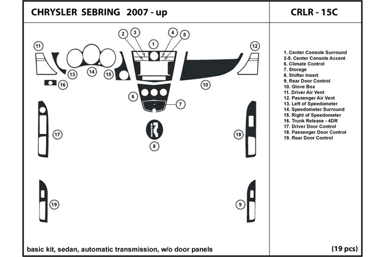 2008 Chrysler Sebring DL Auto Dash Kit Diagram