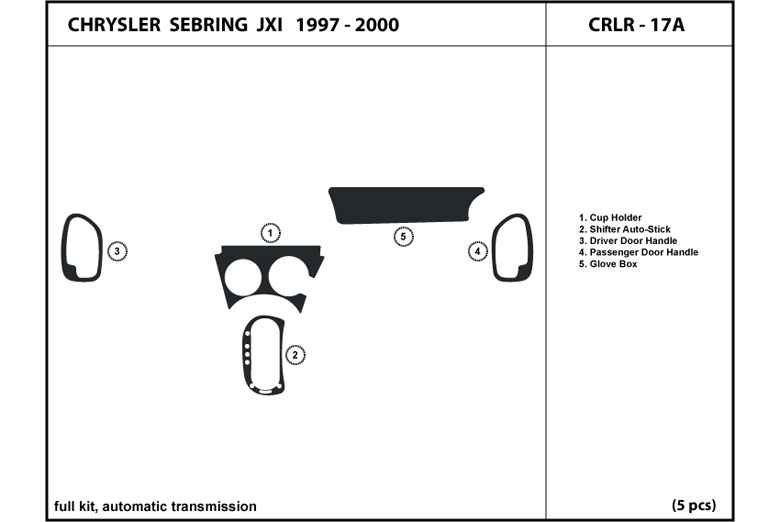 1999 Chrysler Sebring DL Auto Dash Kit Diagram