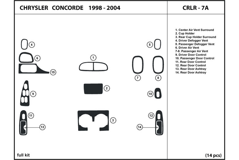 2004 Chrysler Concorde DL Auto Dash Kit Diagram