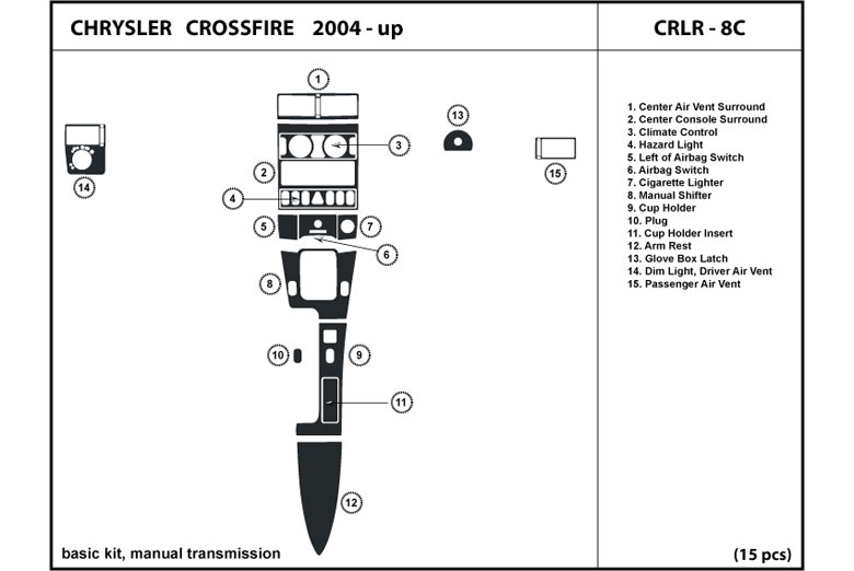 2004 Chrysler Crossfire DL Auto Dash Kit Diagram