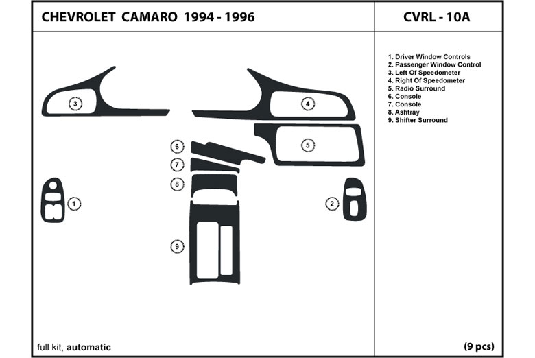1996 Chevrolet Camaro DL Auto Dash Kit Diagram