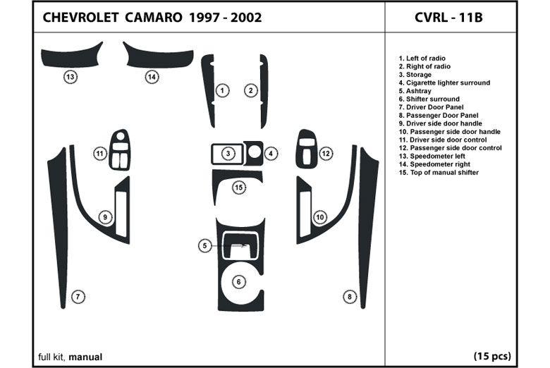 1997 Chevrolet Camaro DL Auto Dash Kit Diagram