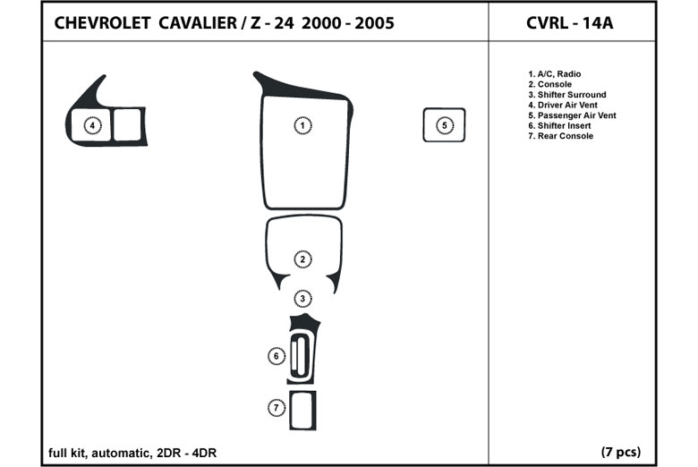 2002 Chevrolet Cavalier DL Auto Dash Kit Diagram
