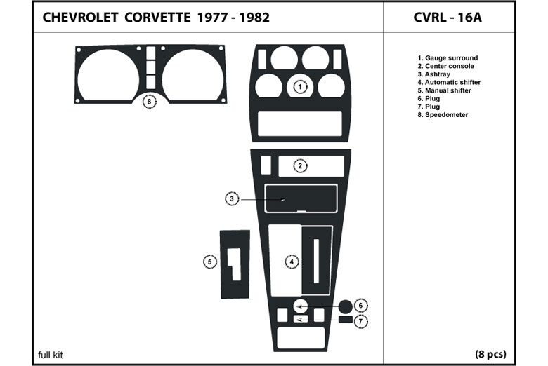 1977 Chevrolet Corvette DL Auto Dash Kit Diagram