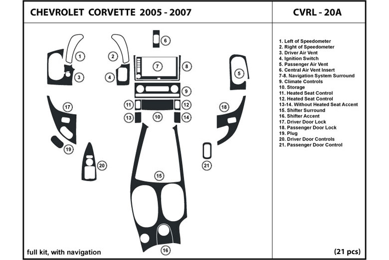 2009 Chevrolet Corvette DL Auto Dash Kit Diagram