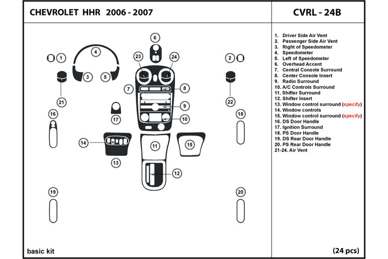 2006 Chevrolet HHR DL Auto Dash Kit Diagram