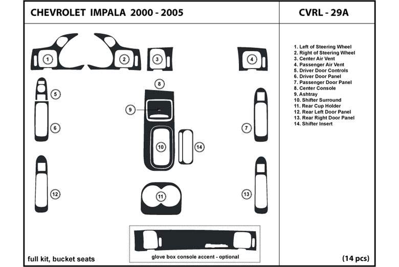 2000 Chevrolet Impala DL Auto Dash Kit Diagram