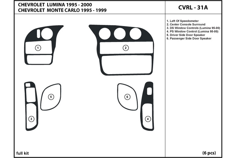 1995 Chevrolet Lumina DL Auto Dash Kit Diagram