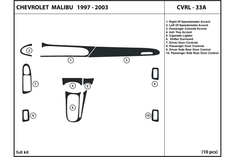 2003 Chevrolet Malibu DL Auto Dash Kit Diagram