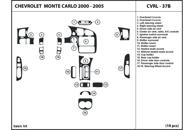 2000 Chevrolet Monte Carlo DL Auto Dash Kit Diagram