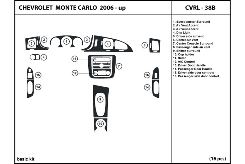 2007 Chevrolet Monte Carlo DL Auto Dash Kit Diagram