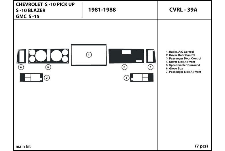 1988 GMC S-15 DL Auto Dash Kit Diagram