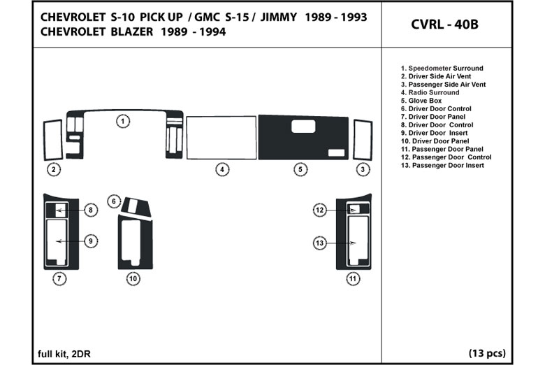 1992 Chevrolet Blazer DL Auto Dash Kit Diagram