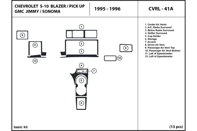 1995 Chevrolet Pick Up DL Auto Dash Kit Diagram